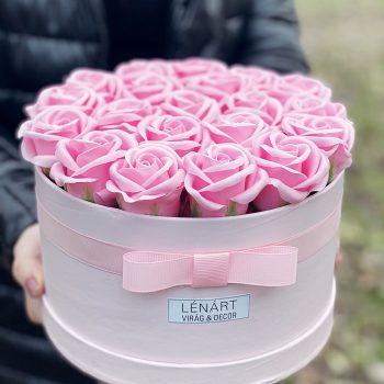 Rózsaszín szappan rózsabox